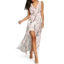 V Neck Sleeveless Floral Printed Split Front Maxi Asymmetrical Dress