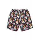 Popular Black Elastic Floral Skull Tropical Swimming Trunks Shorts for Men without Liner