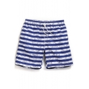 Cool Elastic Drawstring Men's Navy Blue and White Striped Money Dollar Print Swim Trunks with Pockets