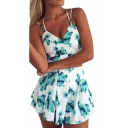 Leaf Printed Spaghetti Straps Sleeveless Crop Cami with Loose Shorts Co-ords