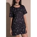 Cat Star Printed Round Neck Short Sleeve Tunic Tee