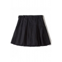 Basic Plain Pleated Mini A-Line Skirt