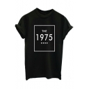 THE 1975 Letter Printed Round Neck Short Sleeve Tee