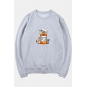 HAPPY PILLS Letter Can Cat Printed Round Neck Long Sleeve Sweatshirt