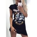 Eagle Letter Printed Round Neck Short Sleeve Tunic Tee