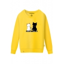 Couple Cats Letter Printed Round Neck Long Sleeve Sweatshirt