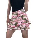 Camouflage Printed Zipper Fly Mini A-Line Skirt