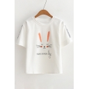 Rabbit HAVE A NICE DAY Letter Printed Round Neck Short Sleeve Tee