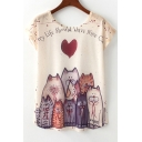 Letter Heart Cat Printed Round Neck Short Sleeve Tee