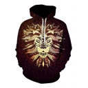 3D Tribal Lion Printed Long Sleeve Hoodie