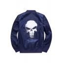 Skull Printed Back Stand Up Collar Long Sleeve Zip Up Baseball Coat