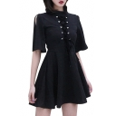Lace Up Front Embellished Round Neck Hollow Out Short Sleeve Mini A-Line Dress