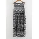 Tribal Print Round Neck Sleeveless Midi Dress