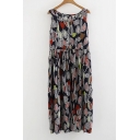Leaf Printed Round Neck Sleeveless Midi Dress