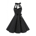 Retro Halter Bow Tied Embellished Sleeveless Polka Dot Printed Midi A-Line Dress