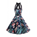 Elegant Retro Floral Printed Halter Sleeveless Midi A-Line Dress