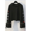 Floral Letter Embroidered Grommet Drawstring Long Sleeve Crop Hoodie