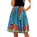 Digital Sun Printed High Waist Midi A-Line Skirt