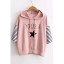 YOU'RE A Letter Star Printed Color Block Striped Half Sleeve Hooded Tee