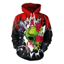 3D Color Block Floral Gun Skull Printed Long Sleeve Hoodie