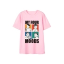 MY FOUR MOODS Letter Character Printed Round Neck Short Sleeve Tee