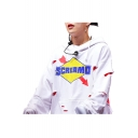 Letter Graphic Printed Cut Out Detail Fake Two Piece Long Sleeve Hoodie
