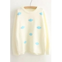 Cloud Pattern Embellished Round Neck Long Sleeve Sweater