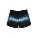Fast Dry Black Colorblock Beachwear Shorts with Mesh Lining and Drawcord