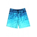 Stylish Designer Blue Men's Underwater Waterscape Swim Shorts Trunks with Mesh Brief
