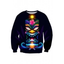 Tribal Sun Lion Floral Pattern Long Sleeve Pullover Sweatshirt for Couple