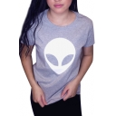 Popular Alien Pattern Round Neck Short Sleeves Casual Tee