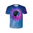 Hand Earth Galaxy Printed Round Neck Short Sleeve Tee