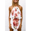 Floral Printed Halter Sleeveless Top with Loose Culottes Co-ords