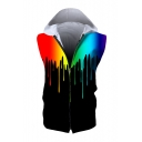 Splash Ink Printed Sleeveless Zip Up Hoodie