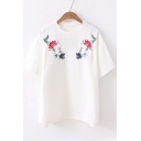 Floral Embroidered Round Neck Short Sleeve Tee