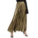 Mental Color High Waist Maxi Pleated Skirt