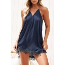 Lace Insert Hem Spaghetti Straps Crisscross Back Mini Cami Dress
