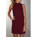 High Neck Sleeveless Plain Mini A-Line Dress