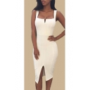 Stylish V-Neck Split Front Plain Slip Bodycon Dress