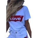 Love Letter Print Round Neck Short Sleeve Tee