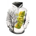 3D Tree Character Printed Long Sleeve Hoodie