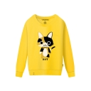 KAT Cat Printed Round Neck Long Sleeve Sweatshirt
