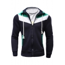Color Block Slim Long Sleeve Zip Up Hoodie