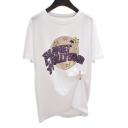 PLANET HOLLYWOOD Letter Star Printed Round Neck Short Sleeve Tee