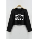 CLASS OF 2030 Letter Printed Hollow Out Long Sleeve Crop Sweatshirt
