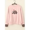 Elephant Printed Long Shirt Sleeve Sweatshirt