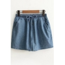 Drawstring Elastic Waist Plain Shorts with Double Pockets