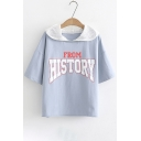 FROM HISTORY Letter Printed Patchwork Hood Short Sleeve Hooded Tee