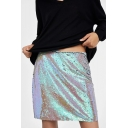 High Waist Sequined Embellished Mini Plain A-Line Skirt