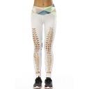 Color Block Geometric Printed Hollow Out Detail Skinny Leggings